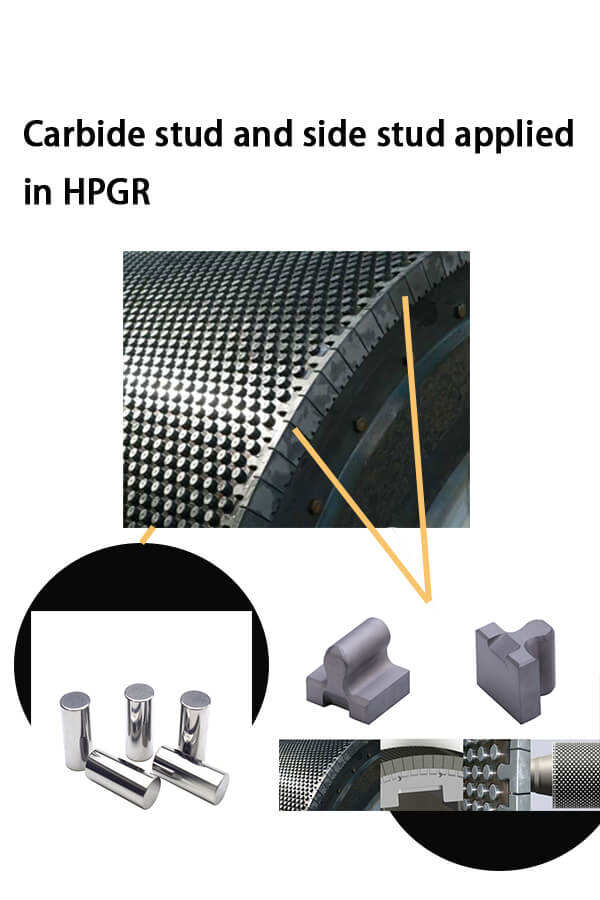 Carbide stud and side stud applied in high press grinding roller